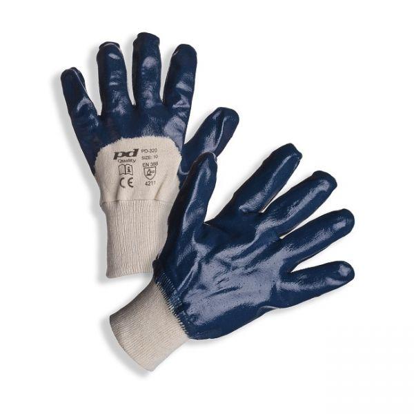 PD-320 Ochranné rukavice z šitého bavlněného úpletu polomáčené v silné vrstvě nitrilu