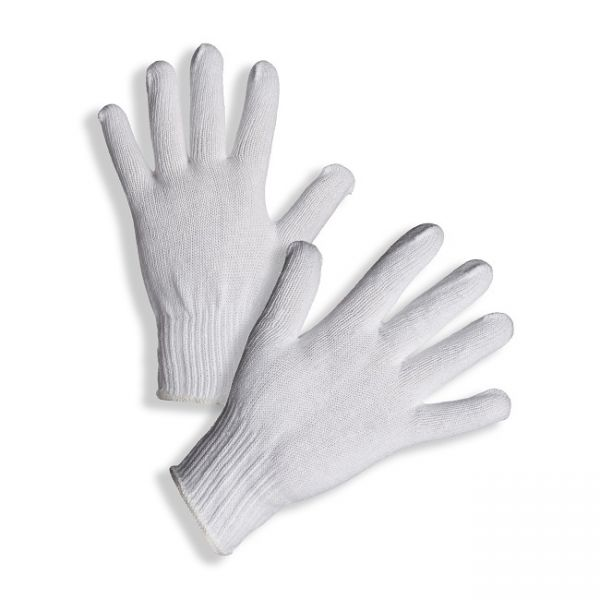 PD-96 Pletené bezešvé rukavice s pružnou manžetou ze směsi polyester/bavlna.